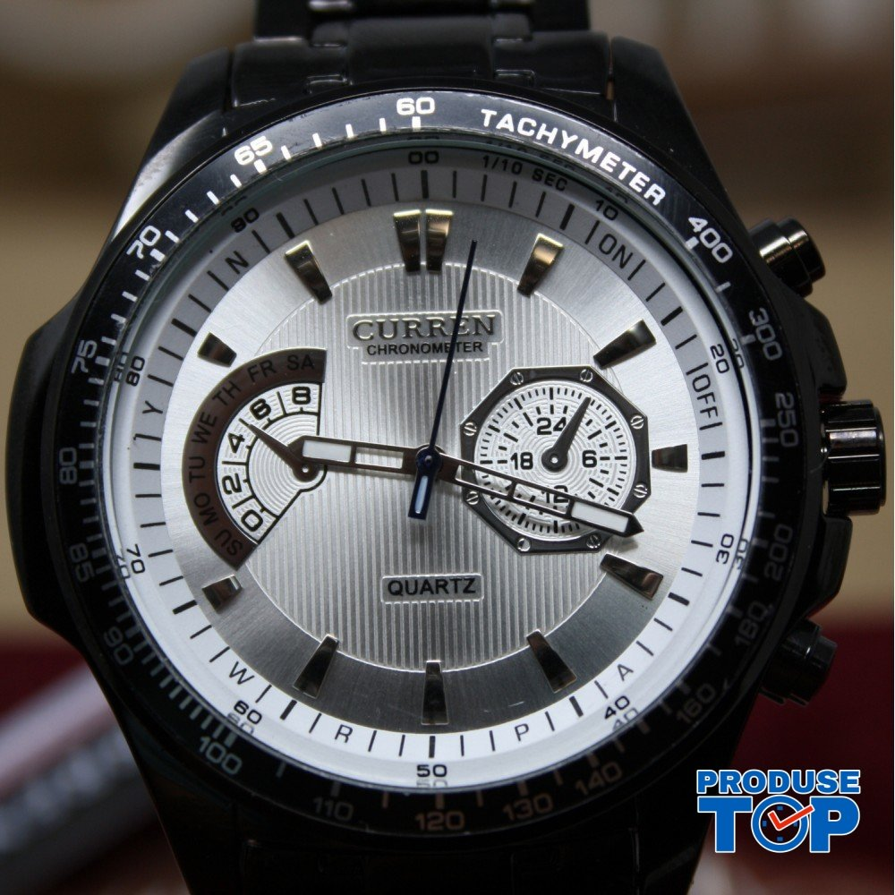 Ceas Barbati Sport Casual Black White cu bratara metalica Curren CBCR013