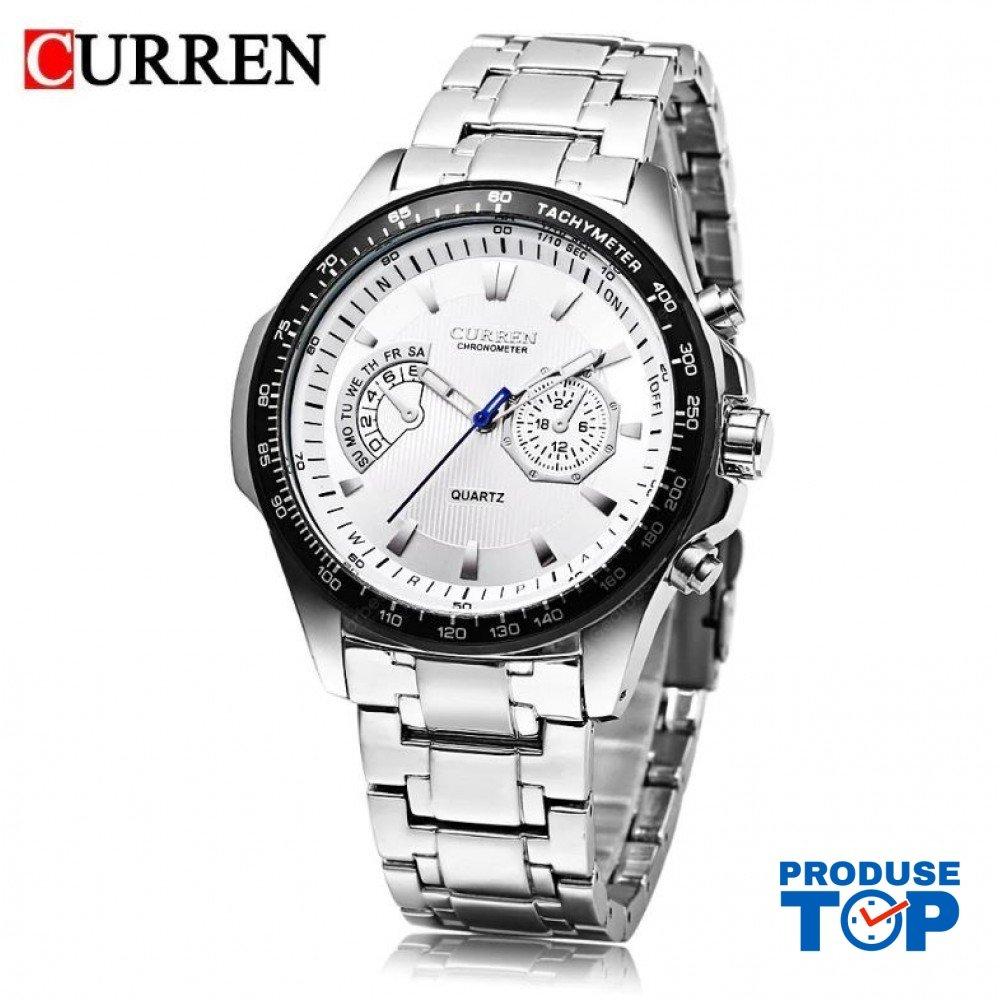 Ceas Barbati Sport Casual Silver White cu bratara metalica Curren CBCR013