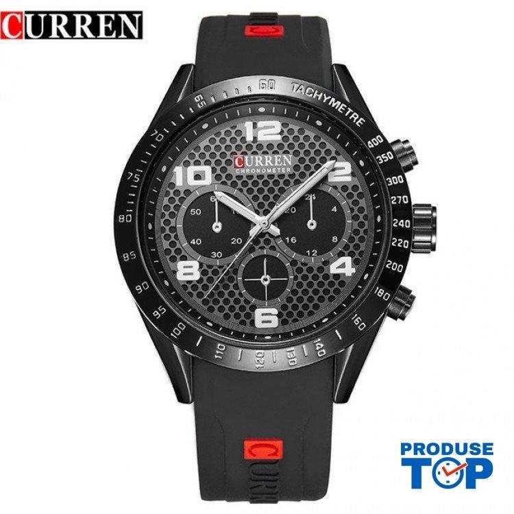 Ceas Barbatesc Sport Black cu bratara din silicon neagra Curren CBCR015