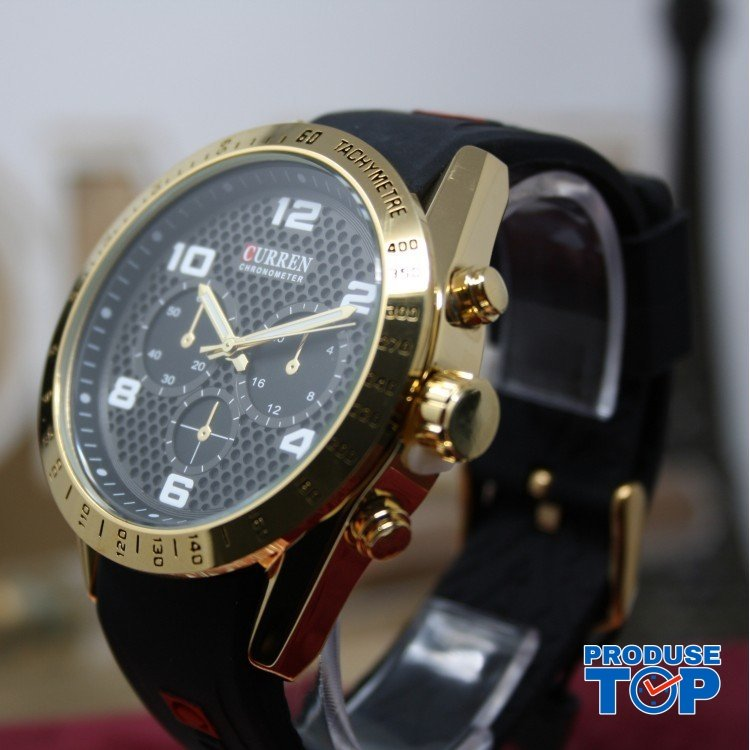 Ceas Barbatesc Sport Gold cu bratara din silicon neagra Curren CBCR015
