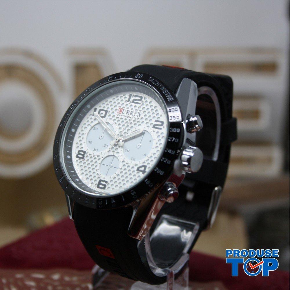 Ceas Barbatesc Sport White cu bratara din silicon neagra Curren CBCR015