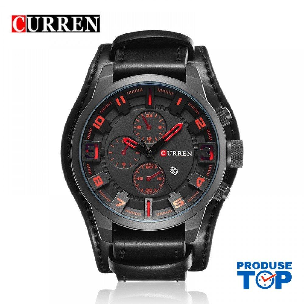 Ceas Barbati Sport Oversized cu bratara piele Black&Red Curren CBCR020