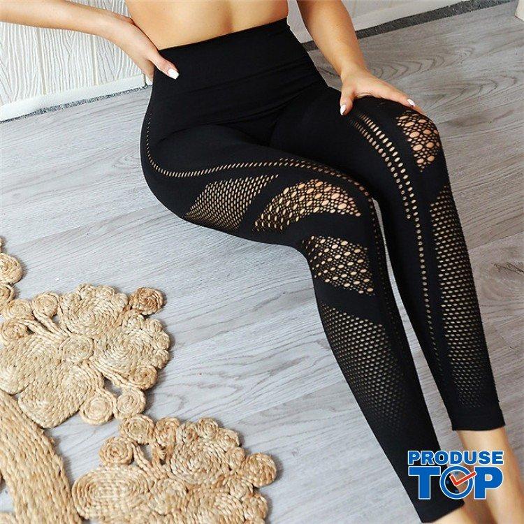 Colanti Dama Sport Negri cu gauri BLUECHHO CDFIT009