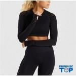 Compleu Fitness Sport negru Colanti si Bluza scurta cu perforatii SFIT011