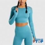 Compleu Fitness Sport albastru Colanti si Bluza scurta cu perforatii SFIT011