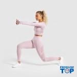 Compleu Fitness Sport roz Colanti si Bluza scurta cu perforatii SFIT011