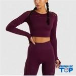 Compleu Fitness Sport burgundy Colanti si Bluza scurta cu perforatii SFIT011