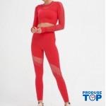 Compleu Fitness Sport Rosu cu Perforatii Colanti si Bluza scurta  SFIT015