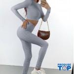 Set Fitness Gri Sport cu bluza maneca lunga si colanti modelatori cu talie inalta SFIT023