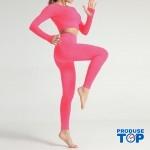 Compleu Fitness Sport roz fosforescent  Colanti Lungi si Bluza Crop SFIT024