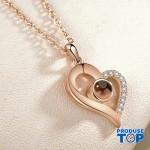 Lantisor roz-auriu cu pandativ cu inimioara  si proiectie I love You in 100 de limbi COL040