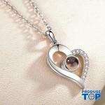 Lantisor argintiu cu pandativ cu inimioara  si proiectie I love You in 100 de limbi COL040