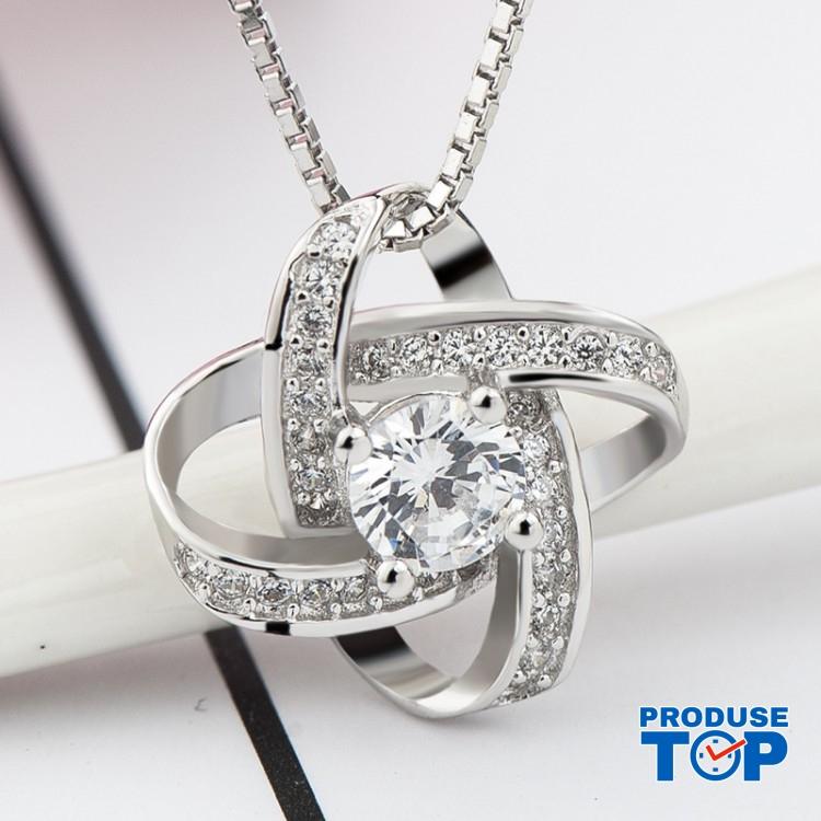 Colier dama silver din argint cu inimioara si strasuri COL044