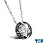 Lantisor dama argintiu cu negru cu pandativ sfera LOVE COL046