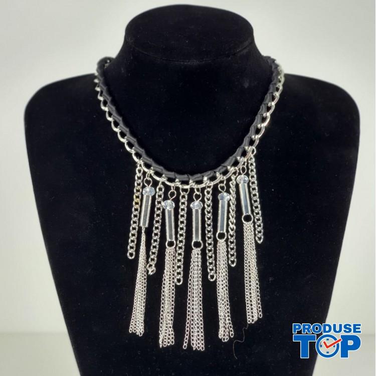 Colier dama din lant cu snur negru si pandative in forma de lant argintiu COL028