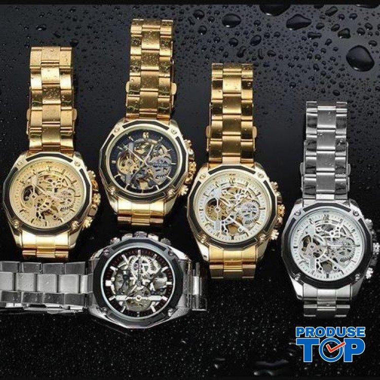 Ceas Barbati Automatic Luxury Auriu cu Alb cu bratara metalica FORSINING CBFR007