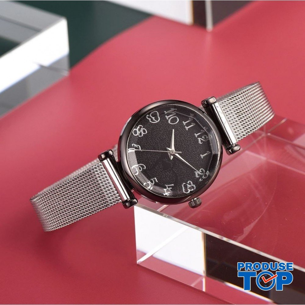 Ceas Dama CLASSICO Black cu bratara metalica Argintie Geneva CDGV018