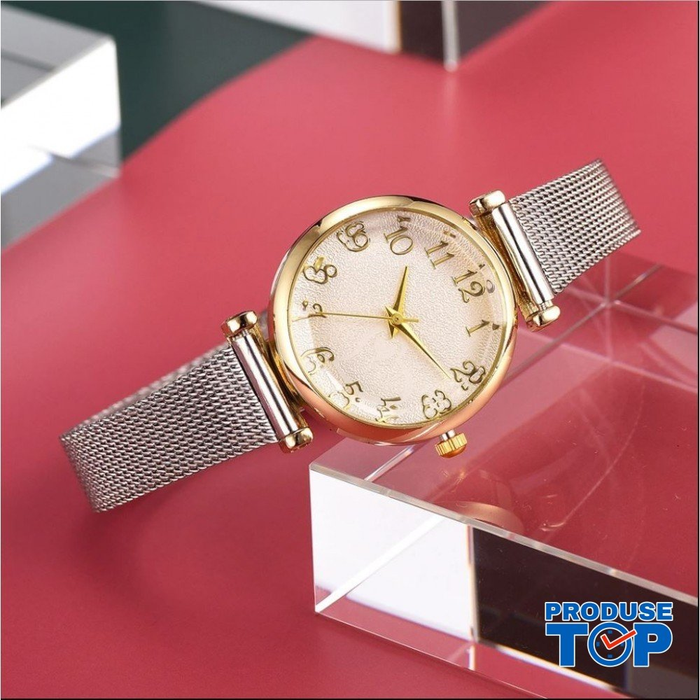 Ceas Dama CLASSICO Gold cu bratara metalica  Argintie Geneva CDGV018