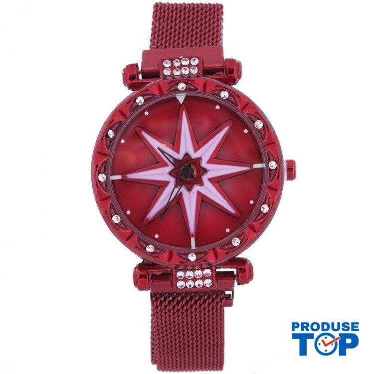 Ceas Dama STAR cu cadran rotativ 360° Spinner si bratara magnetica red GENEVA CDGV021