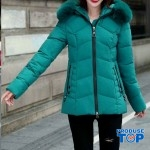 Geaca dama iarna matlasata turquoise cambrata din puf sintetic cu gluga cu blana eco GDI002