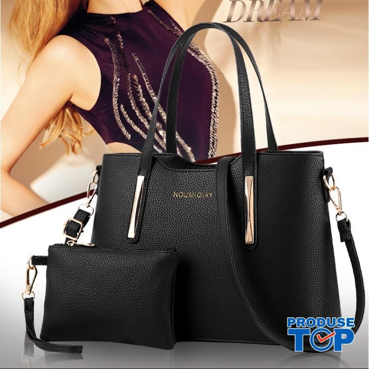 Set geanta + plic dama negru din piele ecologica cu detalii aurii acgd079
