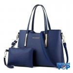 Set geanta + plic dama albastru din piele ecologica cu detalii aurii acgd079