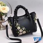 Geanta eleganta cu maner impletit neagra cu flori brodate Florina ACGD097