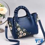 Geanta eleganta cu maner impletit albastra cu flori brodate Florina ACGD097