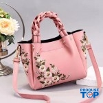 Geanta eleganta cu maner impletit roz cu flori brodate Florina ACGD097