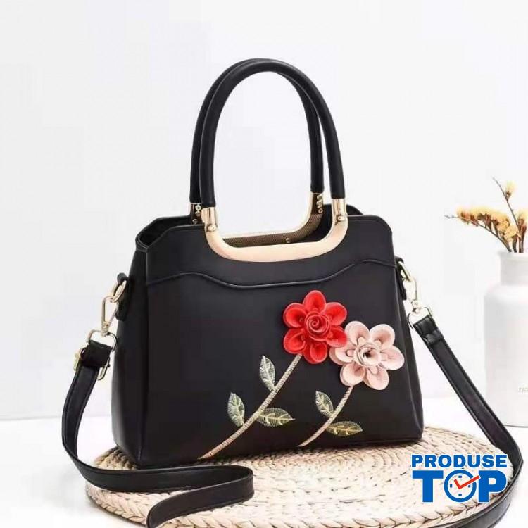 Geanta neagra din piele eco cu flori in relief Happy Spring acgd208