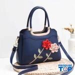 Geanta albastra din piele eco cu flori in relief Happy Spring acgd208