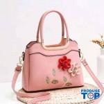 Geanta Roz din piele eco cu flori in relief Happy Spring acgd208