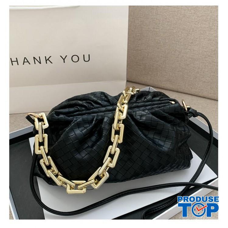 Geanta neagra fashion din piele eco bareta din lant gros Trendy  ACGD212