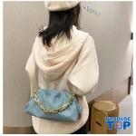 Geanta albastra fashion din piele eco bareta din lant gros Trendy  ACGD212