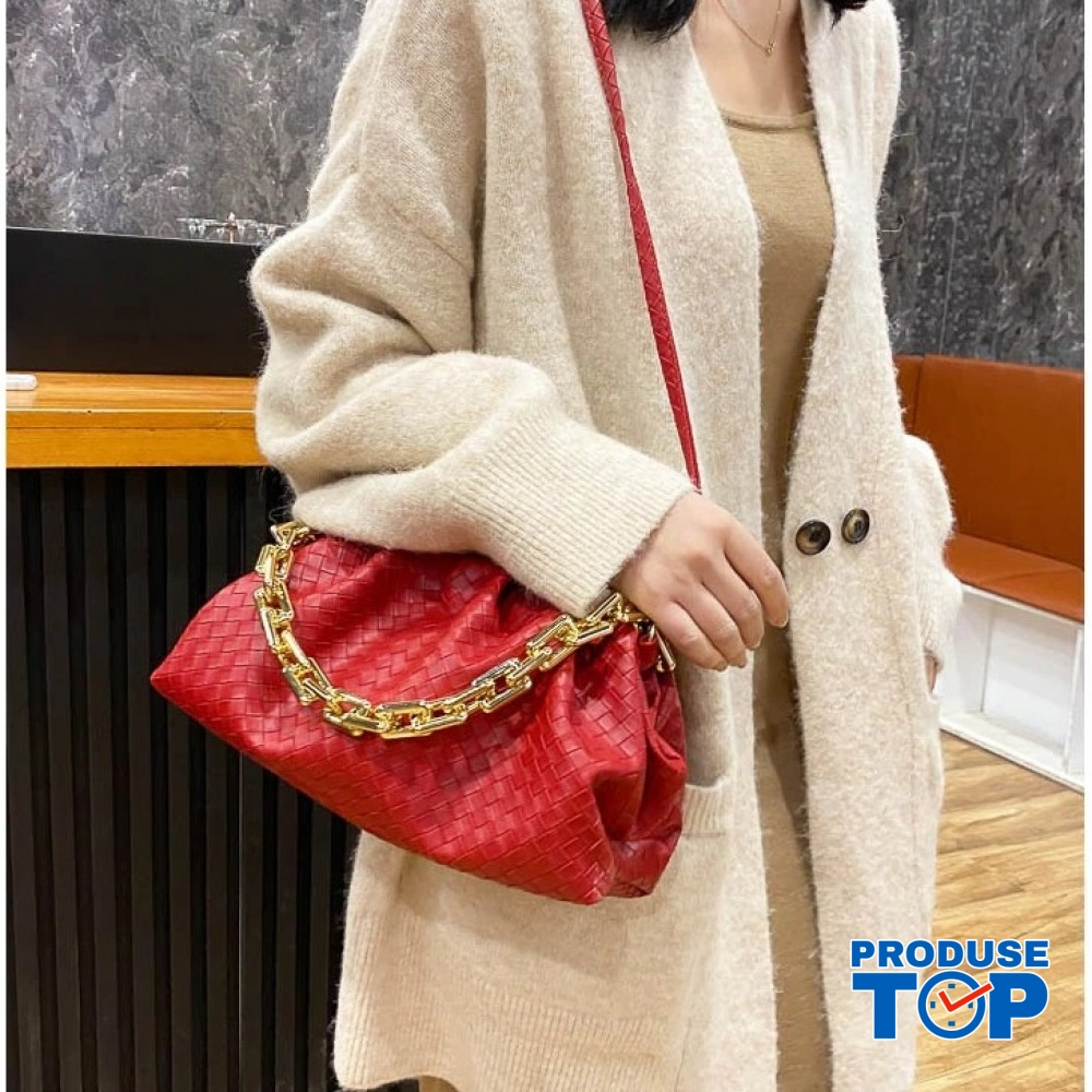 Geanta rosie fashion din piele eco bareta din lant gros Trendy  ACGD212