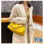 Geanta galbena fashion din piele eco bareta din lant gros Trendy  ACGD212