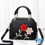 Geanta neagra din piele eco cu flori in relief Spring Feel acgd220