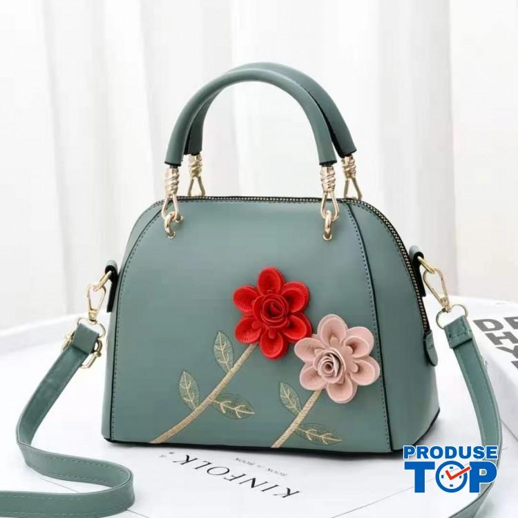 Geanta verde din piele eco cu flori in relief Spring Feel acgd220