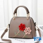 Geanta khaki din piele eco cu flori in relief Spring Feel acgd220