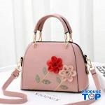 Geanta roz din piele eco cu flori in relief Spring Feel acgd220