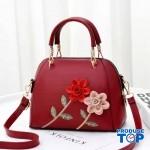 Geanta rosie din piele eco cu flori in relief Spring Feel acgd220