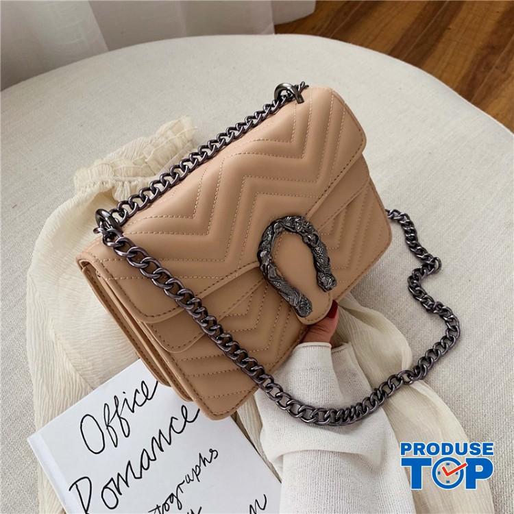 Geanta fashion khaki din piele eco cu catarama metalica si bareta cu lant ACGD222