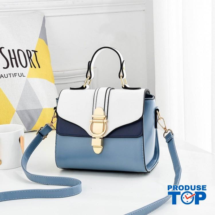 Geanta fashion din piele eco albastru cu alb si catarama aurie ACGD238