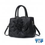 Geanta elegantă neagra cu flori din piele ecologica ACGD242