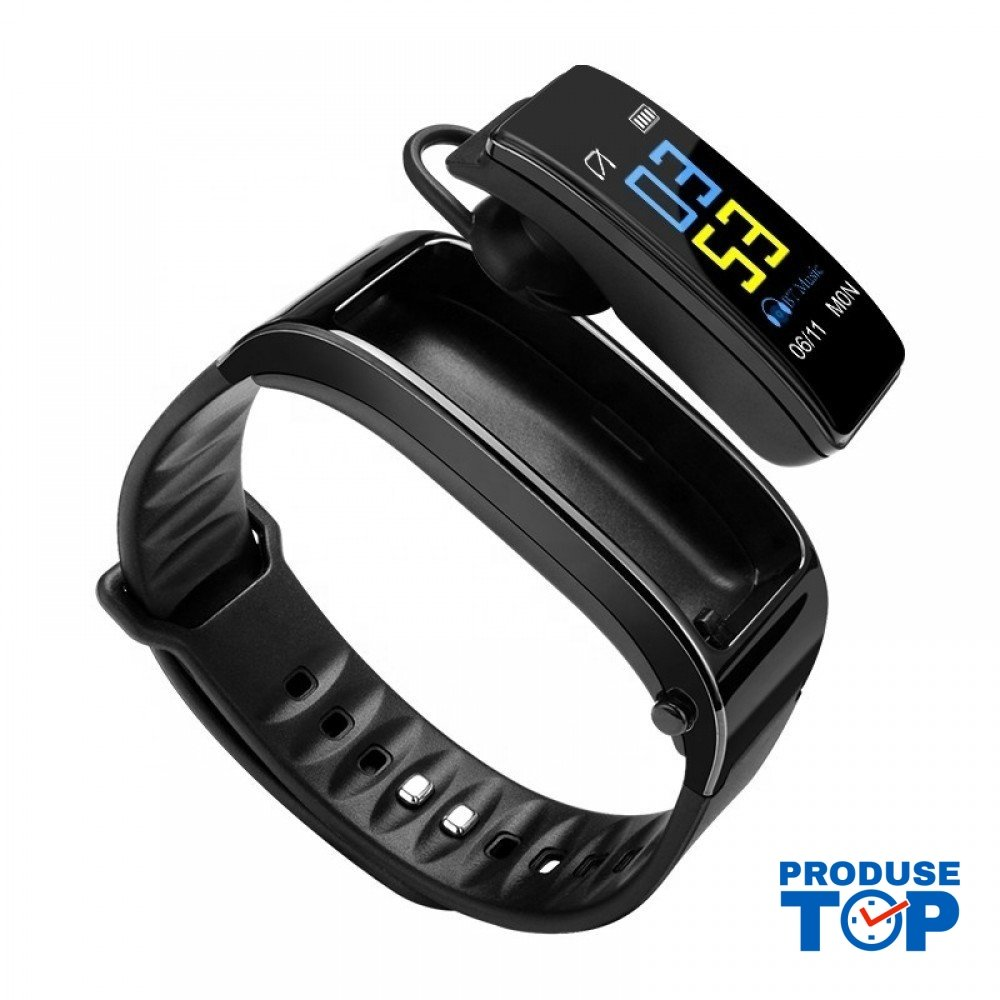 Bratara Fitness Smart neagra cu casca Bluetooth si ritm cardiac Karen SBY3 Plus