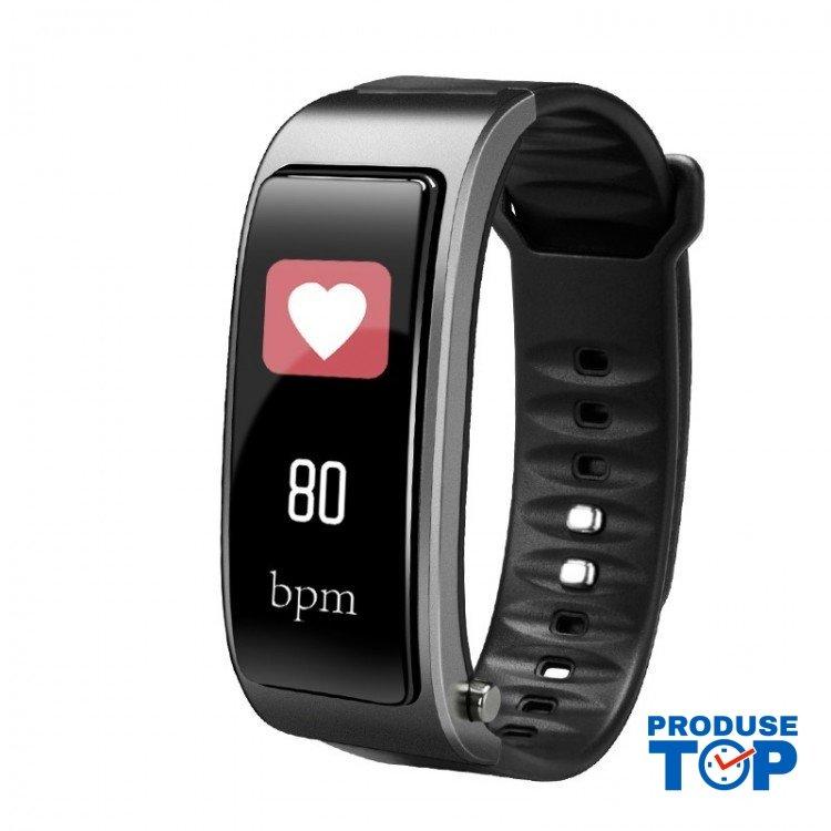 Bratara Fitness Smart neagra cu casca Bluetooth si ritm cardiac cu carcasa argintie Karen SBY3 Plus