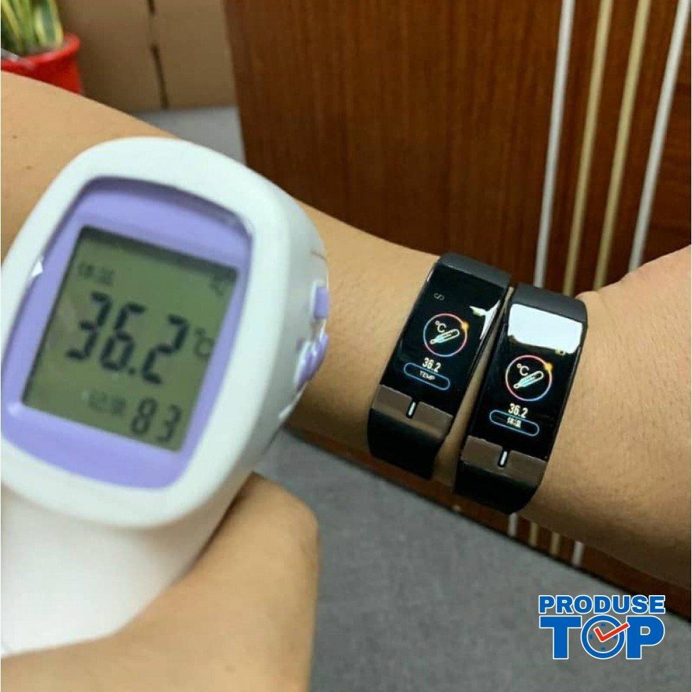 Ceas Smartwatch Touch Screen Rosu cu bluetooth/termometru Karen SWTM01