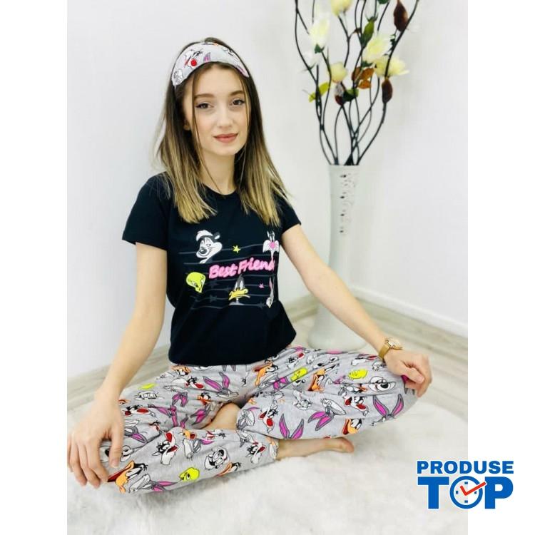 Pijamale Dama negre cu Masca de dormit Maneca Scurta si Pantaloni Lungi BEST FRIENDS PJD013