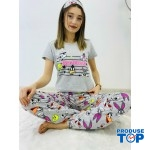Pijamale Dama Gri cu Masca de dormit Maneca Scurta si Pantaloni Lungi BEST FRIENDS PJD013