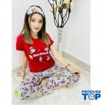 Pijamale Dama Rosii cu Masca de dormit Maneca Scurta si Pantaloni Lungi BEST FRIENDS PJD013